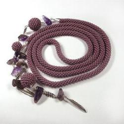 Purple beads crochet rope necklace lariat with amethyst beads ,beaded rope jewelry